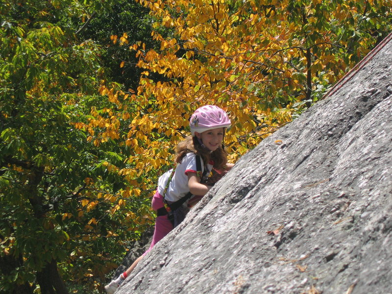 Alexa Chalnick at 6 years old climbing the practice slabs in the Gunks during a beautiful Autumn day.2007