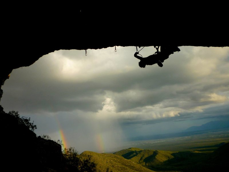 In the traverse section, double rainbow in the background!<br> <br> Photo: Michaela Webb