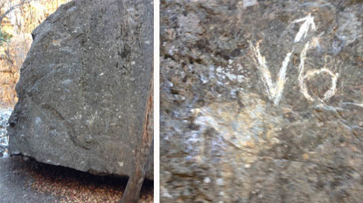 Rock Climbing Photo: house boulder vandalism