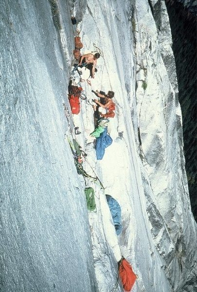 View of the Hang bivy on the FA of the Hall of Mirrors in 1978.