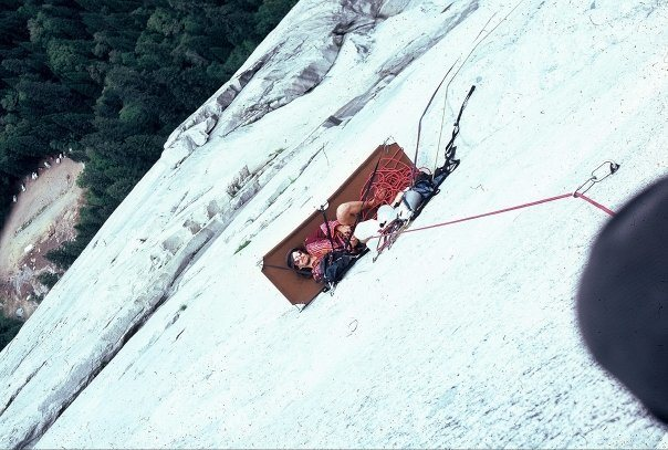 An 18 year old Chris Cantwell belaying Scott Cole on the 11th pitch of the H of M in 1980.