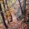 """Looking DOWN from the Height-of-Land area towards the ledge that leads to """"What's Up Yankee"""" and the Left End area. Leaves are now gone."""