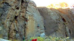 Supreme Wizard Formation.  Climber in green/red (Tommy, photo credit) is on the 10b.  The broken dihredral to his left is the 5.8.  I'm in blue on Hacking and Spitting (12a).  Gravitron (12c/d) is just out of frame  to the left.