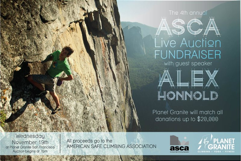 ASCA Fundraiser at Planet Granite San Francisco featuring guest speaker Alex Honnold