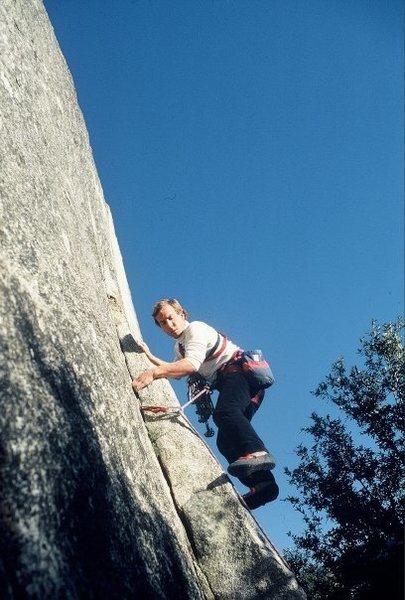 Rock Climbing Photo: Urmas Franosch leads Rocket In My Pocket in 1985.