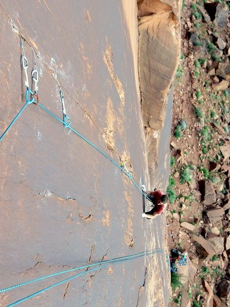 Rock Climbing Photo: Tom pawing his way up a well-named pitch.