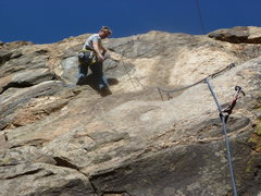 Rock Climbing Photo: At the upper hard move before the anchor.  It is s...