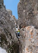 Rock Climbing Photo: Erik Wellborn established in the second-pitch chim...