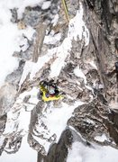 Rock Climbing Photo: Erik Wellborn coming up the first pitch.  Photo by...