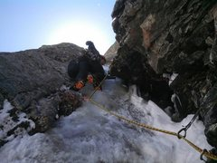 Rock Climbing Photo: Erik Rieger leading the third pitch.  Photo by Eri...