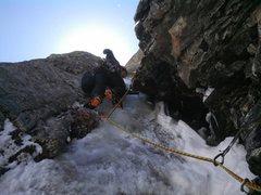 Rock Climbing Photo: Erik Rieger leading the third pitch.  Photo by Eri...