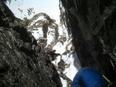 Rock Climbing Photo: Looking down from the chimney.  Photo by Erik Well...
