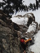 Rock Climbing Photo: Colin Simon tops out the first pitch. We bailed fo...