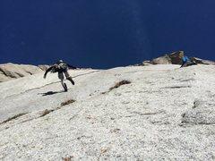 Rock Climbing Photo: The famous pendulum move onto the Zion Curtain!