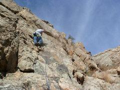 Rock Climbing Photo: Mark on the slab near the second bolt.