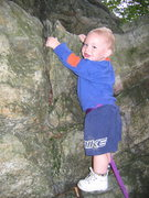 Rock Climbing Photo: Jonah Chalnick 2 years old learning to climb on bo...