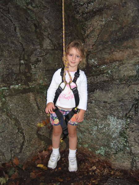 Alexa Chalnick getting ready to climb up Uber Falls decent route in the Gunks.