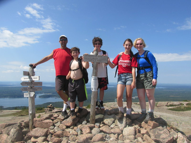 The Chalnick Family 2014 on Summit of Sargent Mnt.  Acadia National Park.
