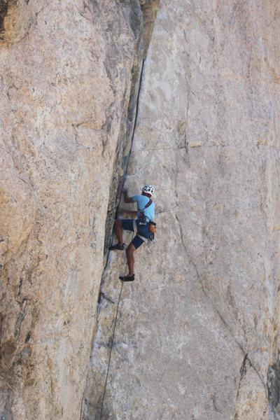 Rock Climbing Photo: Nearing the top, nice no hands slot rest hidden to...