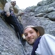 Rock Climbing Photo: At the second belay station in the roof on the rig...