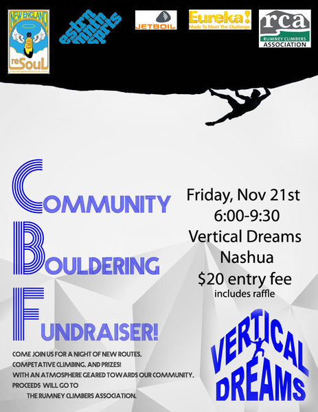 Vertical Dreams is hosting our annual fund raiser benefiting the RCA and there for, Rumney.<br> come show your support! Proceeds go toward the continued effort to keep anchors safe on Rattlesnake hill.