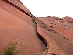 Rock Climbing Photo: Opening the free variation. This flake is scary th...