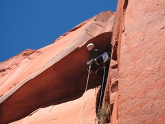 Rock Climbing Photo: Karl on the crux roof.