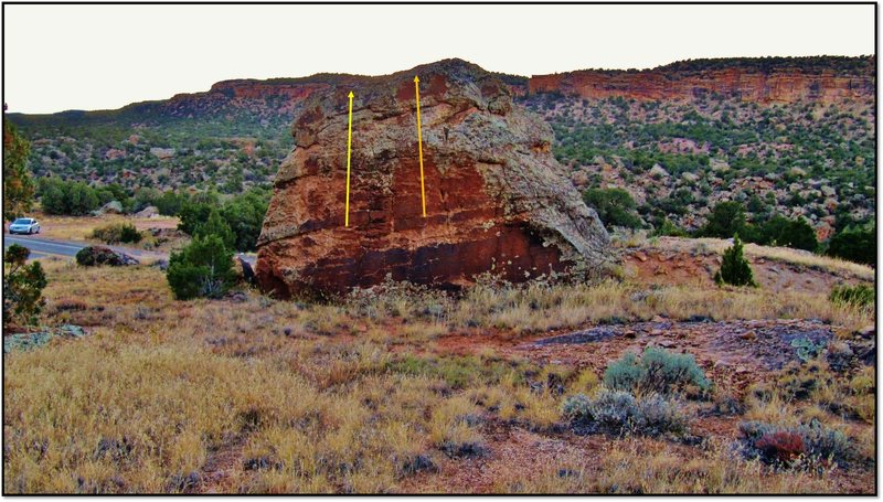 Rock Climbing Photo: Juicing the Pants problem beta in orange.