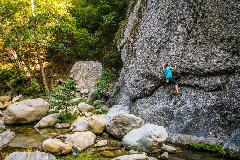 Alex Bury does a traverse at Wheeler Gorge