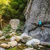 Alex Bury does a traverse at Wheeler Gorge