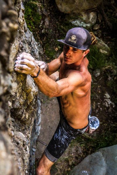 Alex Bury bouldering directly under Hwy 33 at Wheeler Gorge