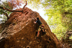 Rock Climbing Photo: Casey on Letterbox (11b/c) at Malibu Creek behind ...