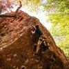 Casey on Letterbox (11b/c) at Malibu Creek behind Stumbling Blocks