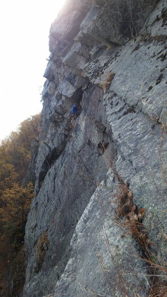 Larry S, hanging belay on Point of No Return, 5.8+ at Delaware Water Gap
