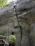Rock Climbing Photo: Fun lead on a stellar hand crack