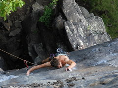 Rock Climbing Photo: Working through the delicate crux moves
