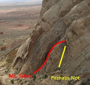 Rock Climbing Photo: Ms.Taken in red with p1 of Perhaps Not in yellow. ...