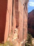 Rock Climbing Photo: access traverse looking at belay.  The climb here ...