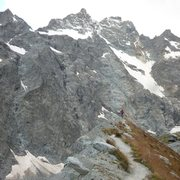 Rock Climbing Photo: Coming down the moraine on the Glacier Noire after...