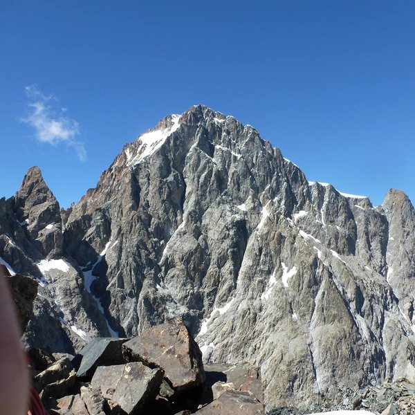 South Face of the Barre des Ecrins, Picture taken from the East Arete of Pic Coolidge. The peak to the left is Le Fifre.