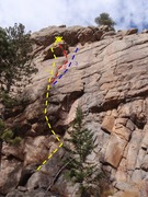 Rock Climbing Photo: 1) Footloose, 5.11a. 2) Dihedral variation, 5.5. 3...