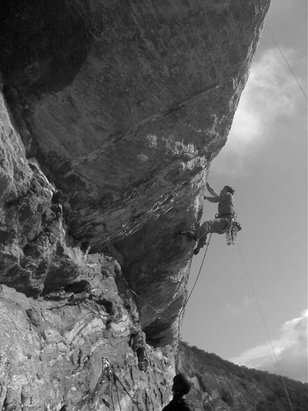 "Arno hiking the ""Jump Pitch"", Vol Wall, Whitesides, NC."