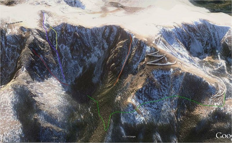 Topo of the area on Pike's Peak.  Snow and ice line is the red line on the north face.  Walkoff/climb out line is in blue.