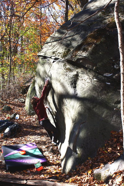Rock Climbing Photo: First big, crux move