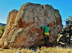 Rock Climbing Photo: Setting to hit the good left hand edge on Mollycod...