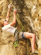 Rock Climbing Photo: Pumping Huecos (5.10d) on Sponge Wall in Las conch...