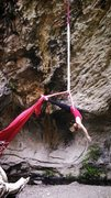 Who said you can only climb the rock, why not suspend yourself from it. Rigging an aerial silk to Happy Entrails on Love Shack Area in Las Conchas.