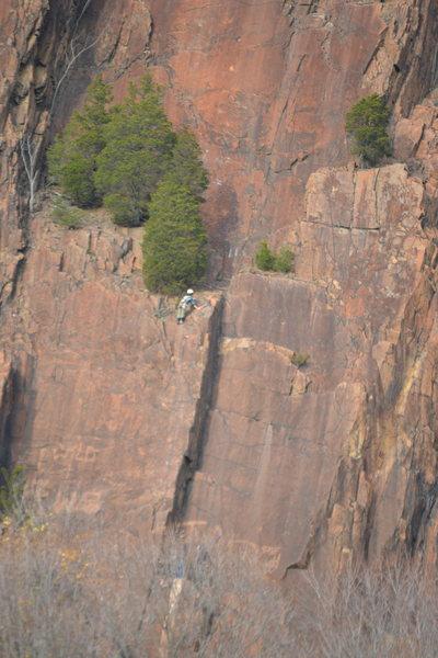 Random climber finishing up P1 on 11/9/14 mid-day