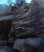 Rock Climbing Photo: Good rest spot before the crux at the top.