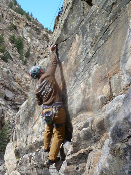 Kevin on the crux.